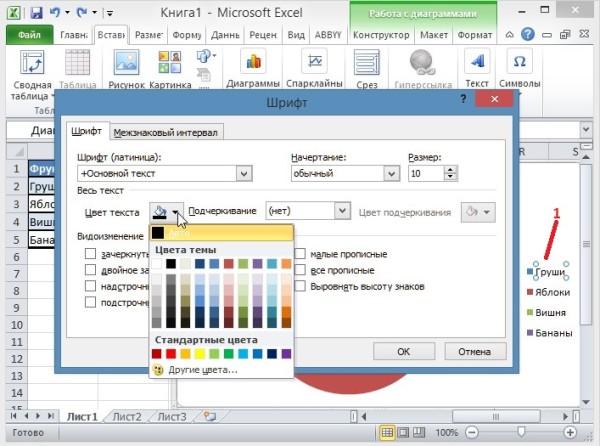 Как нарисовать диаграмму в Excel 2010