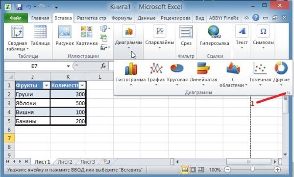 Создание диаграммы в Excel 2010