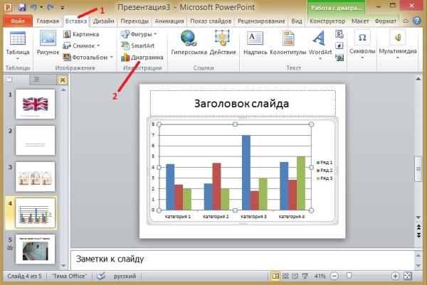 Презентация диаграммы в PowerPoint