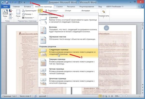 Также может производится нумерация страниц в Ворде с 3 страницы или с любой другой